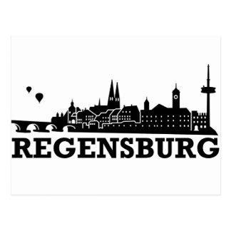 Regensburg-Skyline Postkarte