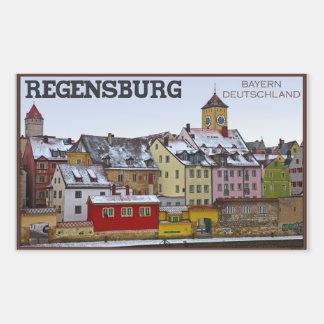 Regensburg - Winter entlang dem Donau Rechteckiger Aufkleber