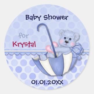 Regenschirm-Bärn-blaue Tupfen-Babyparty Runder Aufkleber