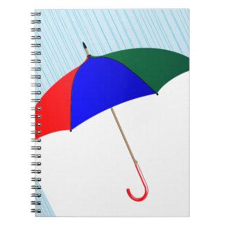 Regenschirm im Regen Notizblock
