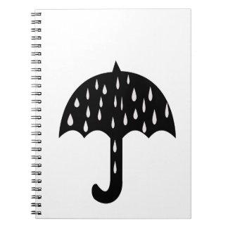 Regenschirm und Regnen Notizblock