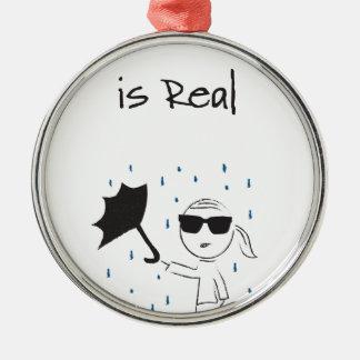 Regenschirm versagen Kampf ist wirklich Rundes Silberfarbenes Ornament