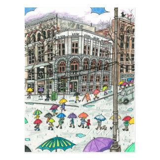 Regenschirme am Pionierquadrat Postkarte