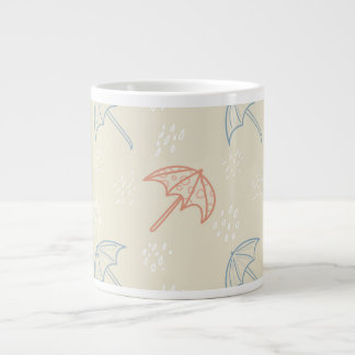Regenschirme und Regen-nahtloses Muster Extragroße Tassen