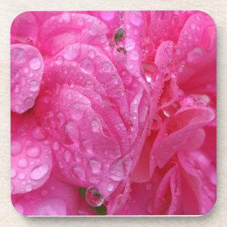 Regentropfen auf Blumenblumenblättern Getränkeuntersetzer