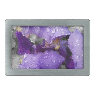 Regentropfen auf Iris Rechteckige Gürtelschnallen