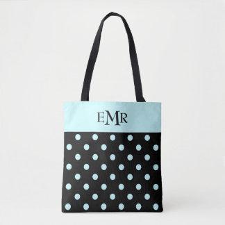 Regentropfen-blaue Tupfen auf schwarzem Monogramm Tasche