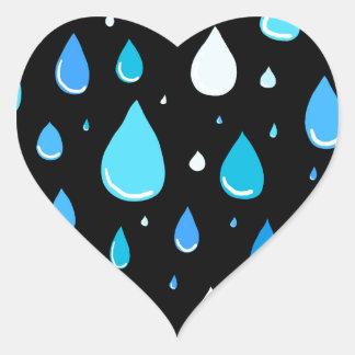 Regentropfen Herz-Aufkleber