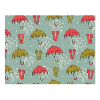 Regenzeit-Regenschirm-Entwurf Postkarte