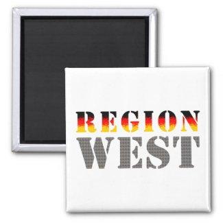 Region West - Westdeutschland | Eckiger Magnet (weiß)