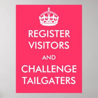 Register-Besucher und Herausforderung Tailgaters P Poster