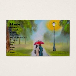 REGNERISCHER TAGESpaar-REGENSCHIRM-MALEREI Visitenkarte