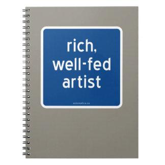 reich, Künstler gut-gefüttert Notizblock