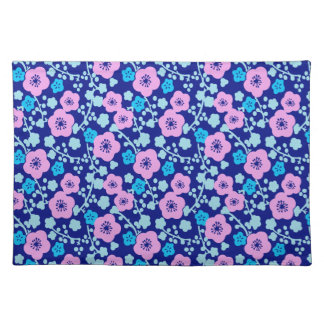 Reiche blaues und rosa Blumenmuster japanische Stofftischset