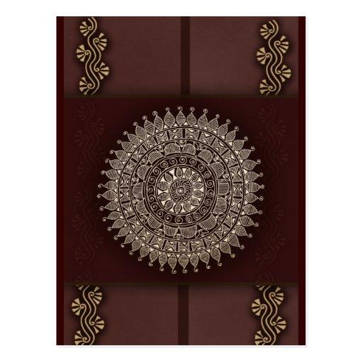 Reiche Braune Rote Indische Dekoration Postkarte Zazzle