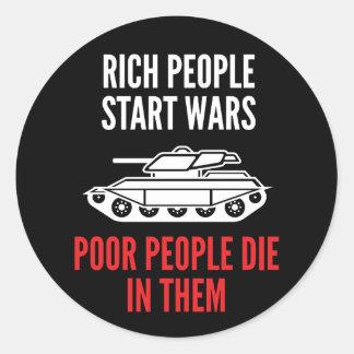 Reiche Leute-Anfangskriegs-Aufkleber Runder Aufkleber