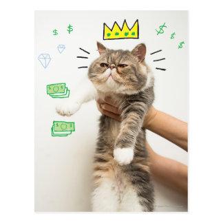 Reicher König Cat Postkarte