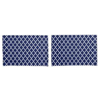 Reiches Marine-Blau und Weiß Quatrefoil Muster Kissen Bezug
