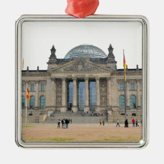 Reichstag Gebäude in Berlin, Deutschland Quadratisches Silberfarbenes Ornament