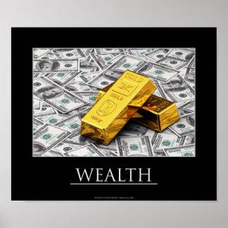 Reichtum - Goldbarren und Dollaranmerkungen Plakatdruck