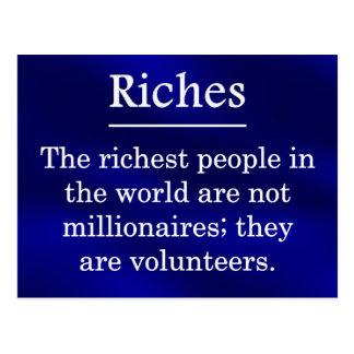 Reichtum vom Freiwillig erbieten Postkarte