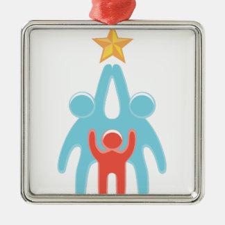 Reichweite für Ihre Träume Quadratisches Silberfarbenes Ornament