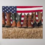 Reihe der Cowboystiefel auf Heuschober Plakatdrucke