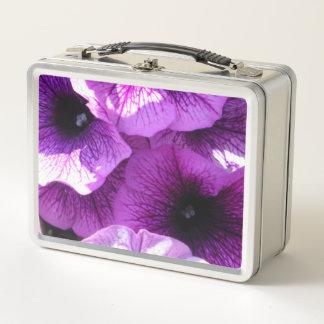Reihe der lila Wellen-Petunien Metall Brotdose