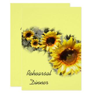Reihe der Sonnenblume-Proben-Abendessen-Einladung Karte