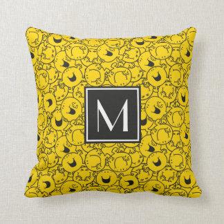 Reihe des Gelbs lächelt Monogramm des Muster-| Kissen