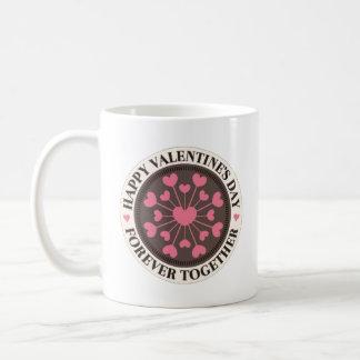 Reihe des Herz-für immer zusammen Valentinsgrußes Kaffeetasse