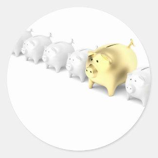 Reihe mit piggy Banken Runder Aufkleber