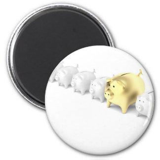 Reihe mit piggy Banken Runder Magnet 5,1 Cm