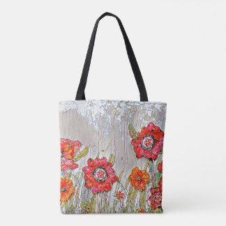 Reihen der Mohnblumen-Tasche Tasche