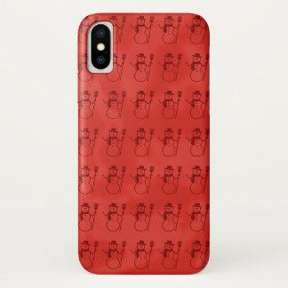 Reihen von Snowmen auf festlichem rotem Vintagem iPhone X Hülle