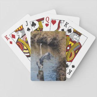 Reiher auf den Wasser-Spielkarten Spielkarten