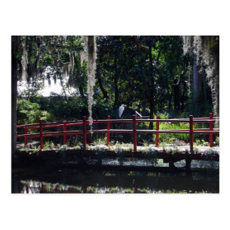 Reiher auf roter Brücken-Postkarte Postkarte