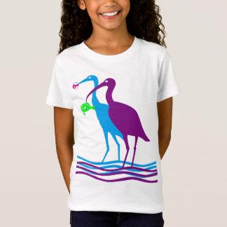 Reiher-und Fisch-Entwurf T-Shirt