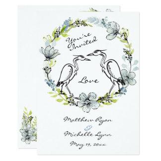 Reiher-Vogel-Paare und Blumewreath-Hochzeit laden Karte
