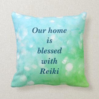 Reiki grün-blauer Scheinentwurf Kissen