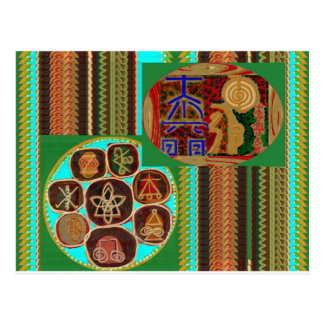 REIKI Karuna heilende Symbole Vintage Postkarten