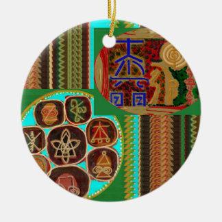 REIKI Karuna heilende Symbole Vintage Rundes Keramik Ornament