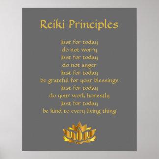 Reiki Prinzipgrau und -gold Poster