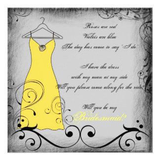 Reimende Brautjungfernkarten des gelben schwarzen Ankündigungskarte