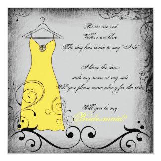 Reimende Brautjungfernkarten des gelben schwarzen Quadratische 13,3 Cm Einladungskarte