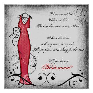 Reimende Brautjungfernkarten des roten schwarzen Personalisierte Ankündigungskarten