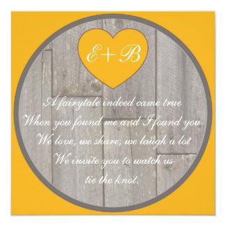 Reimende Hochzeit des orange grauen rustikalen Quadratische 13,3 Cm Einladungskarte