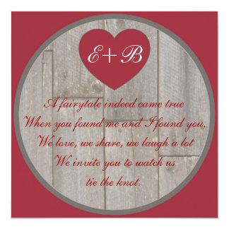 Reimende Hochzeit des roten grauen rustikalen Quadratische 13,3 Cm Einladungskarte