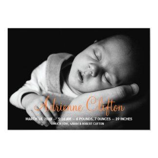 Reine einfach Babystatistik-Geburtsmitteilung 12,7 X 17,8 Cm Einladungskarte