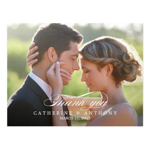 Reine Eleganz-Hochzeit danken Ihnen, - Weiß zu kar Postkarten